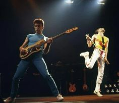"John Deacon and Freddie Mercury, ""Hot Space Tour"", 1982"