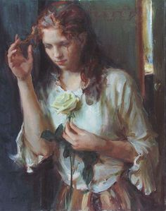 Daniel F. Gerhartz 1965 | American Figurative painter | Ladies with flowers