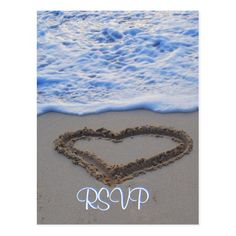 Hawaii Wedding Save the Date Cards RSVP Heart in Sand at Beach Postcard