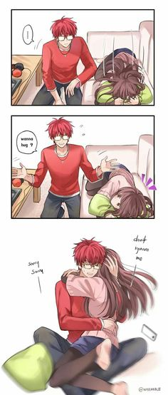 What is this anime and manga I need to know I want to know tell me in the comments Mystic Messenger Characters, Mystic Messenger Fanart, Mystic Messenger Memes, Comics Anime, Bd Comics, Cute Comics, Funny Anime Couples, Anime Couples Manga, Anime Couples Cuddling