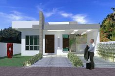 Where To Buy Pergola Wood Refferal: 6980846871 Modern House Facades, Modern House Plans, Modern House Design, Wood Pergola, Flat Roof, Patio Roof, Facade House, House Front, Cottage