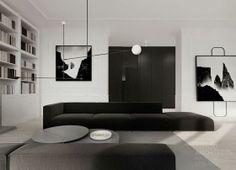 Flat interior design Warsaw TAMIZO ARCHITECTS Dedicated to deliver superior interior acoustic experince # Flat Interior Design, Interior Simple, Monochrome Interior, Black And White Interior, Minimalist Interior, Contemporary Interior, Black White, Modern Design, Interior Colors