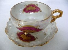Japan Iridescent Fine China Floral Footed Teacup and Saucer Set