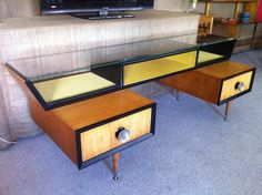 Vintage Retro 50's Atomic Sideboard TV Entertainment Unit Drawers Glass Top | eBay