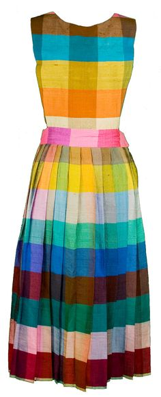 1950s Small Rainbow Gingham Pinafore Pleated by TopangaHiddenT