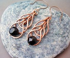 Wire Wrapped Earrings Copper and Black Agate Gemstone - Handmade Copper Earrings…