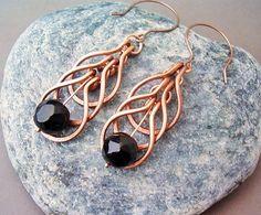 Wire Wrapped Earrings Copper and Black Agate Gemstone - Handmade Copper Earrings…