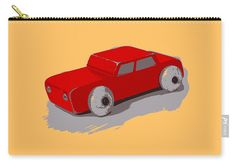 """Wooden Toy Car In Red Carry-All Pouch by Sverre Andreas Fekjan.  Our pouches are great.  They're availabe in sizes from 6"""" x 5"""" up to 12.5"""" x 8.5"""".  Each pouch is printed on both sides (same image)."""