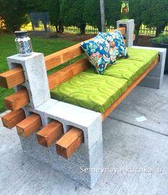 скамейка из бруса и пеноблоков