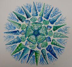 ShELL MaNdALa Watercolor Print Home Decor 10x10 Blue Green Sea Foam. $18.00, via Etsy.
