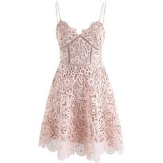 Chicwish Flourish Like Flowers Crochet Cami Dress in Nude Pink (1,060 MXN) ❤ liked on Polyvore featuring dresses, pink, sexy pink dress, spaghetti strap dress, floral cami, floral camisole and spaghetti strap camisole