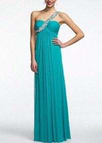 Elegant, stunning, and beautiful, these are just a few words to describe this majestic chiffon dress! One shoulder bodice features a heavily beaded sparkling strap. Pleated empire waist create a flattering silhouette. Long chiffon soft skirt gives this dress a whimsical feel. Fully lined. Back zip. Imported polyester. Professional spot clean. Available in Plus sizes as Style XS4134W.A sheer, flowing fabric that drapes well on the body.A sheer, flowing fabric that drapes well on the body.A…