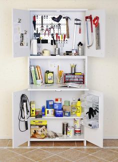 Tee itse työkalukaappi | Meillä kotona Shelves, Home Decor, Shelving, Decoration Home, Room Decor, Shelving Units, Home Interior Design, Planks, Home Decoration
