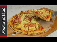 Ζύμη για πίτσα χωρίς μαγιά με 4 υλικά σε 10 λεπτά | Super easy pizza crust in 10 minutes (no yeast) - YouTube Cookbook Recipes, Cooking Recipes, Savory Muffins, Hawaiian Pizza, Easy Cooking, Tart, Bakery, Sweet Home, Appetizers