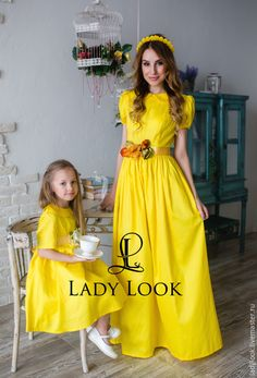 Купить Комплект Family Look № 47 - желтый, цветочный, платье летнее, мама и дочка
