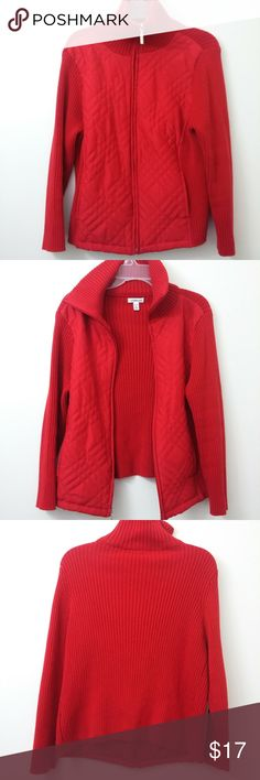 Croft & Barrow Full Zip Rib Knit Quilted Jacket Get a perfectly layered look with this rowdy red cozy womens Croft & Barrow sweater jacket. The front features a quilted polyester fabric while the rest of the sweater is 100% cotton. Size is a Petite large  Features - Excellent Condition (no holes, stains, fading or odor) - Sweater: 100% Cotton, Quilted Fabric: 100% Polyester - Front and Sides are quilted and back and sleeves are a sweater - 2 pockets - one on each side in the front between…
