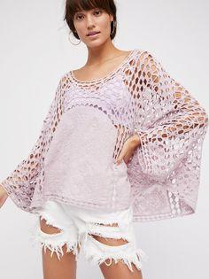 "78.00,  100% cotton,  24.5"",  one size,  lavender,  Willa Jane Embroidered Crochet Poncho"