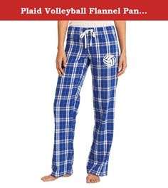 "Plaid Volleyball Flannel Pants, Royal Blue, Small. Comfort taken to the extreme in a fun plaid. 4.3-ounce, 100% ring spun combed cotton. Elastic waistband with functional twill tape drawcord. Faux fly. Low Rise. Screen printed volleyball design on left leg. Inseam = 31.5"". Junior sizes: XS (waist 22.5-24""), S (waist 24.5-26""), M (waist 26-28""), L (waist 28.5-30""), XL (waist 31-33""), XXL (waist 34-36"")."