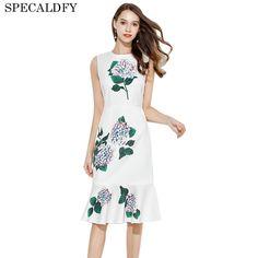 16e72ba6412 Women Designer Dress High Quality 2017 Summer White Bodycon Dresses Party  3D Floral Print Elegant Sleeveless