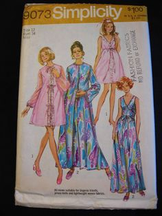 Vintage Simplicity Peignoir   Nightgown Pattern UC FF 1970s Pajamas Size 12  Bust 34 Nightgown Pattern 26520354f