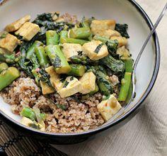 stir fries with tofu, asparagus spinach mint basil scallions & hoisin sauce (for search)