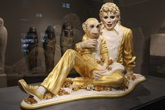 "The sculpture ""Michael jackson and Bubbles"" of US artist Jeff Koons is seen at the Liebighaus Skulpturen Sammlung during the opening of the exhibition ""Jeff Koons - The Painter"