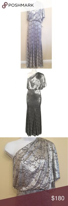 """Adrianna Papell metallic one shoulder draped gown NWT. Smoke and pet free home. Beautiful gown. Perfect for prom, wedding, ball, or any special event. Dont miss the chance to add this to your wardrobe today. Measurements are approximate.  Length- 53""""  measurment taken from no shoulder side to bottom of dress  Bust-40"""" Waist-34"""" Adrianna Papell Dresses One Shoulder"""
