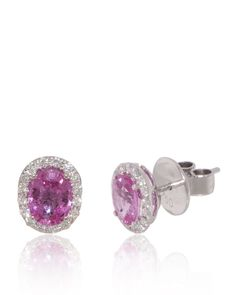 Pink Sapphires Studs Oval