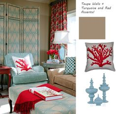 i love the turquoise and red/coral color combo.  I'm working on a similar look for my master bedroom with DIY side tables.