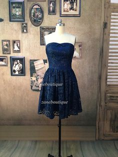 Navy Blue Lace Bridesmaid Dress Strapless by ZaneBoutiqueDress, $89.00