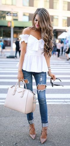 #spring #outfits  White Off The Shoulder Top & Destroyed Skinny Jeans & Cream Leather Tote Bag
