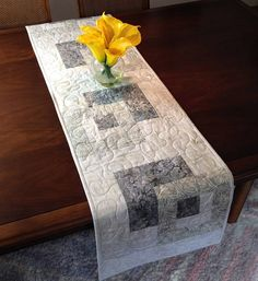 Modern Batik Table Runner Handmade Gray Quilted Tablerunner