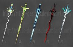 Swords by Rittik-Designs - I really like the ones on the far left and right