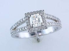 1.04ct Diamond 14K White Gold Halo Split Shank Engagement Wedding Ring, $1250.00