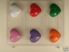 LARGE HEART TRUFFLE LIKE PIECES CLEAR PLASTIC CHOCOLATE CANDY MOLD V222