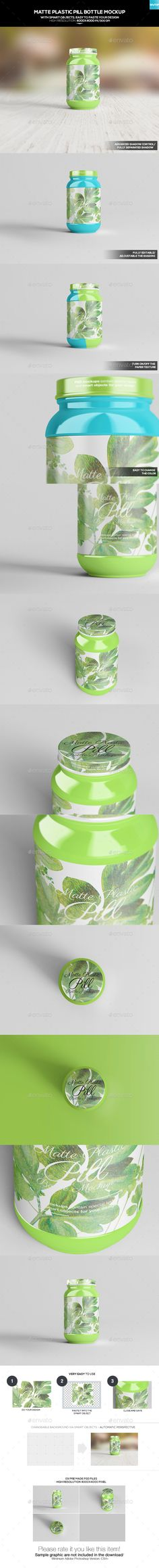Matte Plastic Pill Bottle - #Miscellaneous #Packaging Download here: https://graphicriver.net/item/matte-plastic-pill-bottle/20182987?ref=alena994