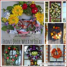 Many ideas for decorative front door wreaths. How sweet is that little vintage bicycle... :: Front-Porch-Ideas-and-More.com  #wreath #frontdoor #porch