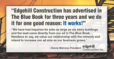 What's the one reason Edgehill Construction is in The Blue Book Network?