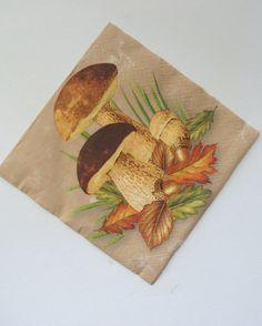 Servilleta de papel servilleta x 1.  Uso para decoupage, scrapbooking, u otro tipo de papel y proyectos de decoración.  Setas de otoño, las hojas y