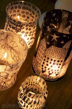 DIY Tissue Paper Lanterns - What better way to create one of kind lanterns and candles holders than with tissues paper and recycled glassware.