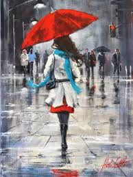 Umbrella Painting, Rain Painting, Umbrella Art, Street Painting, Figurative Kunst, Painting Leather, Diy Canvas Art, City Art, Portrait Art