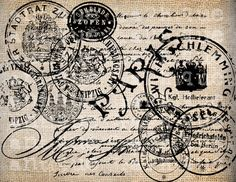 Antique Paris French and German Postmarks por AntiqueGraphique Vintage Diy, Images Vintage, Vintage Labels, Vintage Ephemera, Vintage Paper, Vintage Postcards, Collages D'images, French Typography, Burlap Background