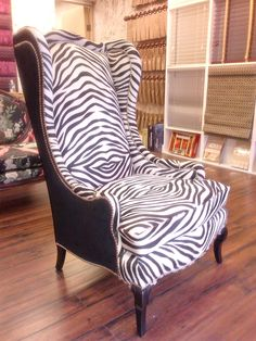 Upholstered Wing Chair In Zebra Cow Hide Love The Use Of Decorative Tacks Chairswingback Chairszebra Print