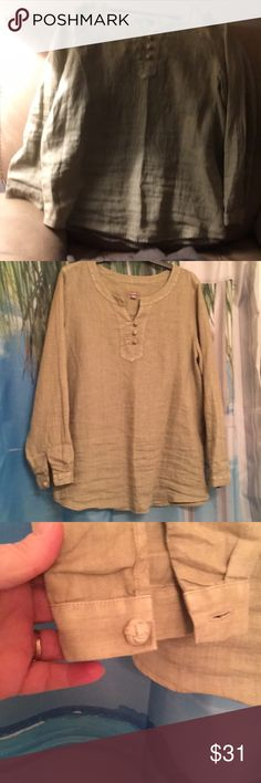 Light Olive green J Jill linen long sleeve top L Beautiful light olive green J Jill linen top. Long sleeves covered buttons At rest and at neckline. Seem at back. Very rich looking top. Goes great with jeans leggings or a skirt. Perfect for vacation to go from daytime casual to dress up evening. Size large. (Photos are making the color deceiving first photo is the color it is a pale all of green, (not tan) J Jill Tops