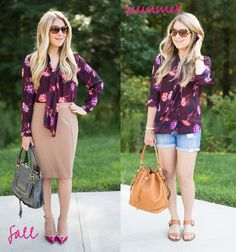 Floral Blouse From Summer to Fall Outfit, work outfit...One shirt two ways to wear it