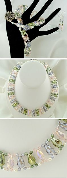 Necklace Pink, Lavender, and Sage Pastel Crystals with White Pearl Handwoven by Lindy Lee Treasures Fit for a Princess! Colorful choker. Monet inspired. Elegant crystal necklace. June birthstone.