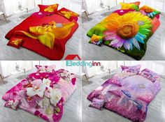 Adorable floral pattern duvet cover, which one do you like? #floral #3d #beddinginn Live a better life, start with Beddinginn http://www.beddinginn.com/product/Yellow-Flower-And-Butterfly-Digital-Print-4-Piece-Cotton-Duvet-Cover-Sets-11347481.html