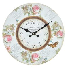 Vintage wall clocks, classic metal finish wall clocks or brightly printed clocks whatever you are looking our collection has it. Wall Clock Painting, Shabby Chic Clock, Metal Birds, Miniatures, Stone, Antiques, Clocks, Floral, Vintage