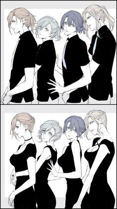 Ren, Ai, Masato and Camus as women too Pelo Anime, Anime W, Chica Anime Manga, Kawaii Anime, Character Inspiration, Character Art, Uta No Prince Sama, Boy Art, Drawing Reference