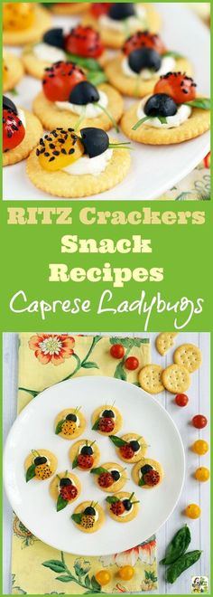 Looking for easy RITZ Crackers Snack Recipes? Click to try these Caprese Ladybugs. This easy snack recipe makes a fun afterschool snack or a cute brunch or party appetizer. Easy to make and ideal for spring or summer entertaining! #ad #FamilyRITZpiration (sponsored by RITZ Crackers)